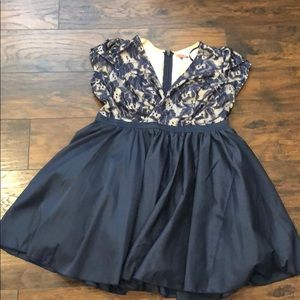 Chi Chi London Navy Blue V Neck Flare Dress